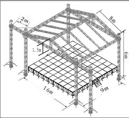Concert Aluminum Stage Truss Tower With Roof Stage 760mm X 600mm